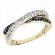 9ct gold Cubic zirconia crossover ring 1.7g